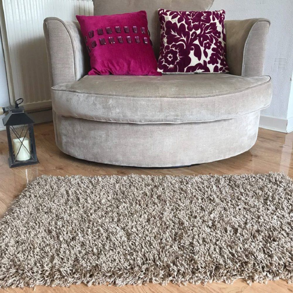 Details About Beige Small Large Size Thick Plain Soft Gy Rug Non Shed 5cm Pile Modern Rugs