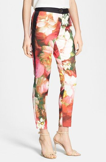061f739cf Ted Baker London  Rose on Canvas  Print Crop Trousers Womens Bright Pink  Size 4