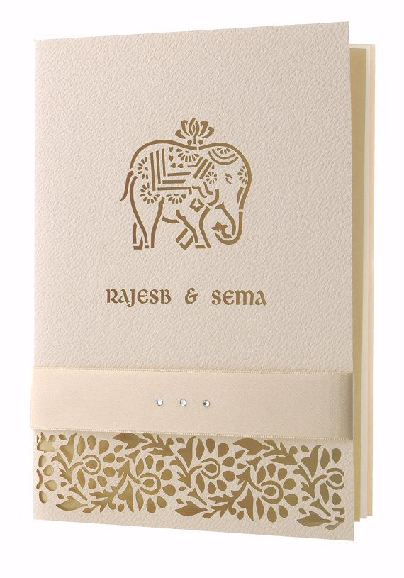 Cream Elephant Laser Cut Luxury Indian Hindu Asian Wedding Invitation Personalised Bow With Complimentary Envelopes And Printing