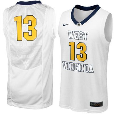 218e2fe09a3 Nike West Virginia Mountaineers  13 Elite Replica Aerographic Basketball  Jersey - White