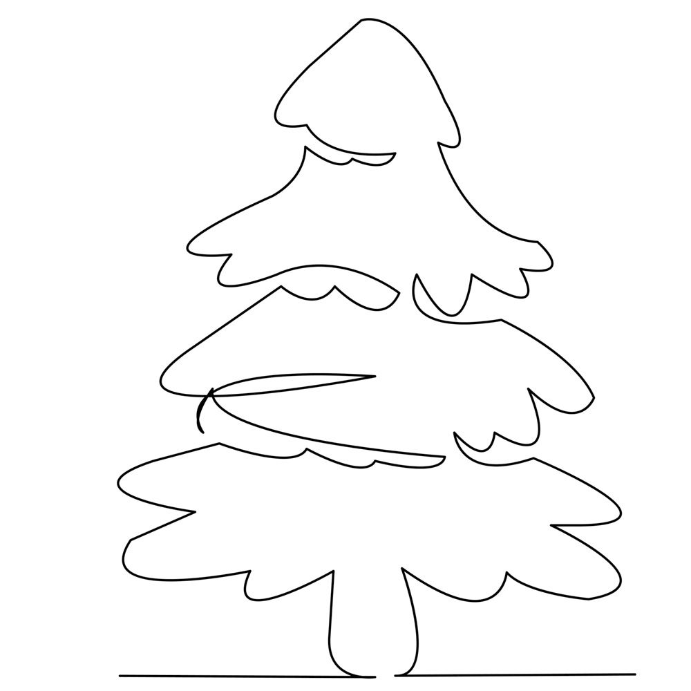 Continuous Single Drawn One Line Christmas Tree Drawn By Hand Picture Silhouette Line Art In 2020 Christmas Tree Drawing Tree Drawing Line Art
