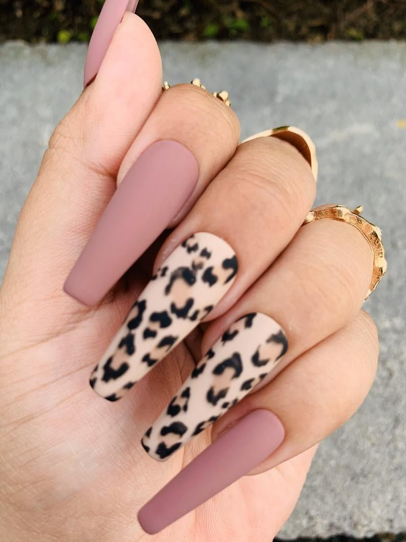 Cheetah Print Press On Nails Mauve Nails Any Shape And Size Fake Nails Matte Coffin Nails In 2020 Mauve Nails Cheetah Print Nails Fake Nails