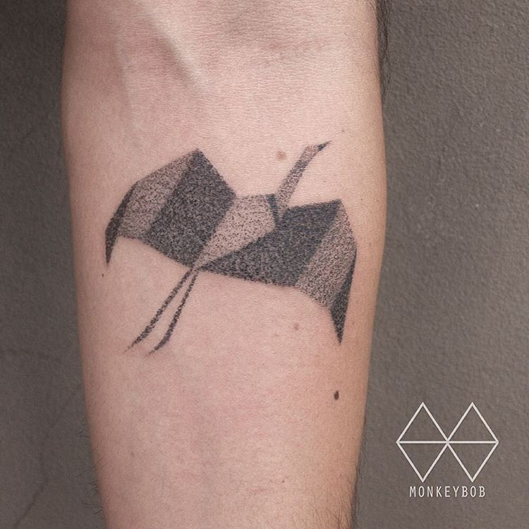 Origami crane Done at the_darling_parlour origami