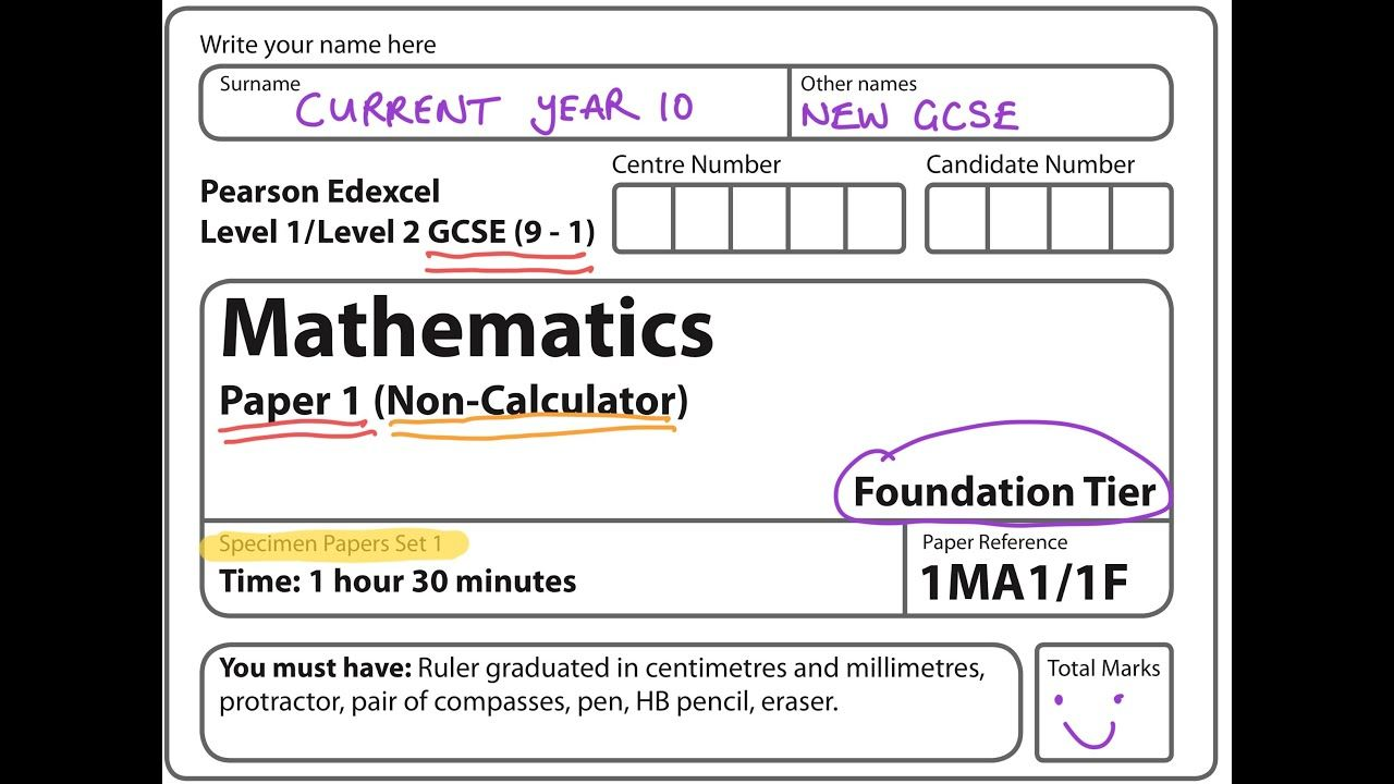New Spec 9 1 Gcse 2017 Set 1 Paper 1 Foundation Non Calculator Gcse Math Gcse Foundation [ 720 x 1280 Pixel ]