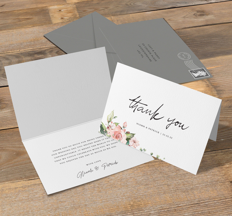 Folded Thank You Card Wedding Thank You Cards Thank You Cards Wedding Thank You Card And Envelope B In 2020 Wedding Thank You Cards Wedding Thank You Wedding Cards