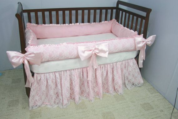 Lace And Pink Satin Baby Crib Bedding Set By Whimsicalandwitty
