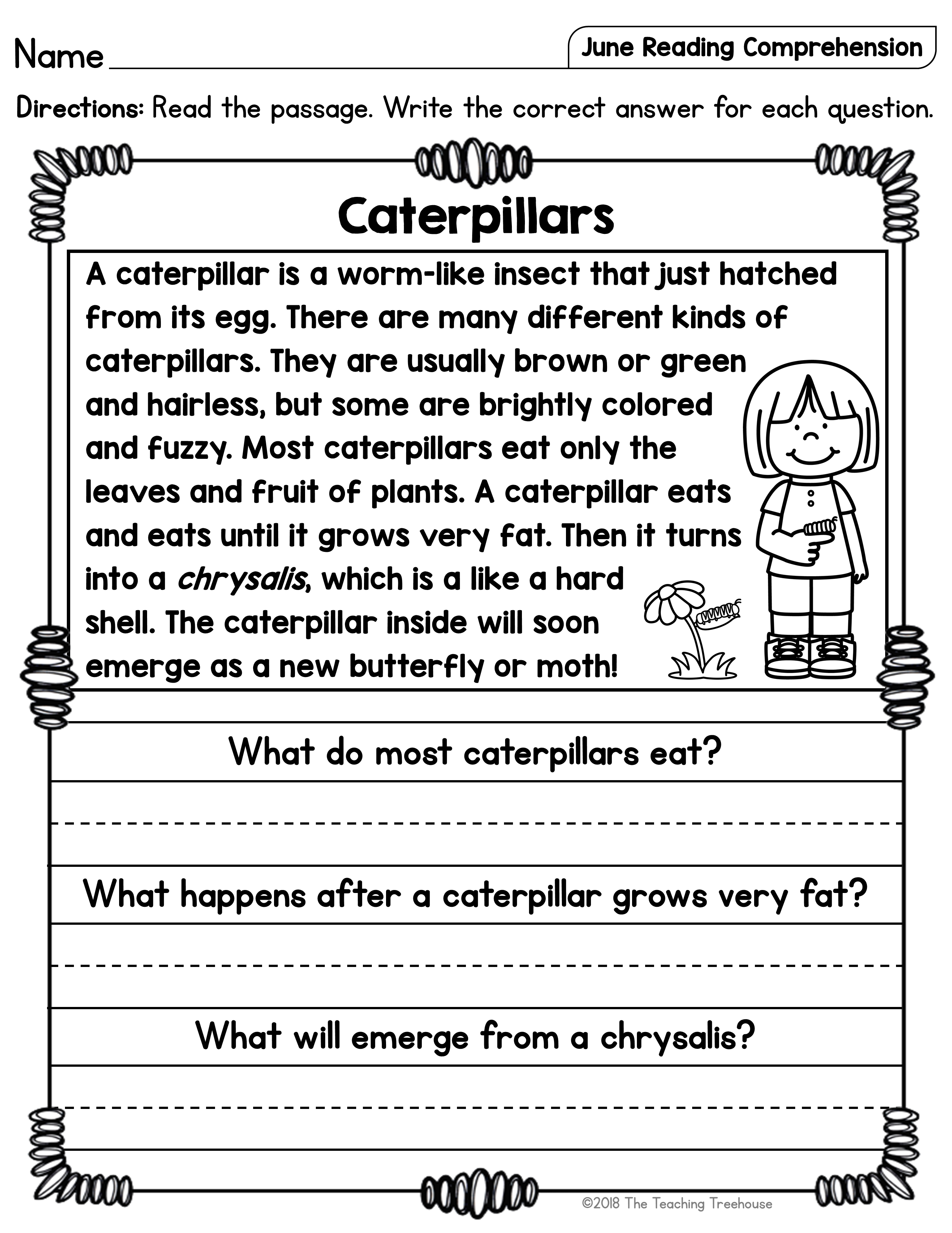 June Reading Comprehension Passages For Kindergarten And