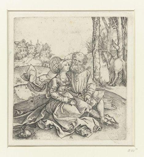 De ongelijke liefde: een oude man met een jonge vrouw, Albrecht Dürer, 1493  #PublicDomain