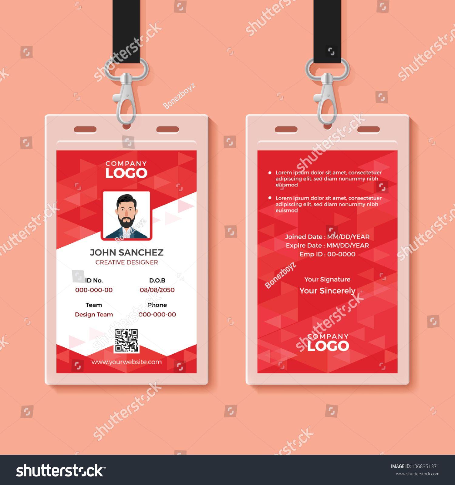 Carte De Visite Vorlage Model Red Corporate ID Card Design Template IDCorporateRedTemplate Id
