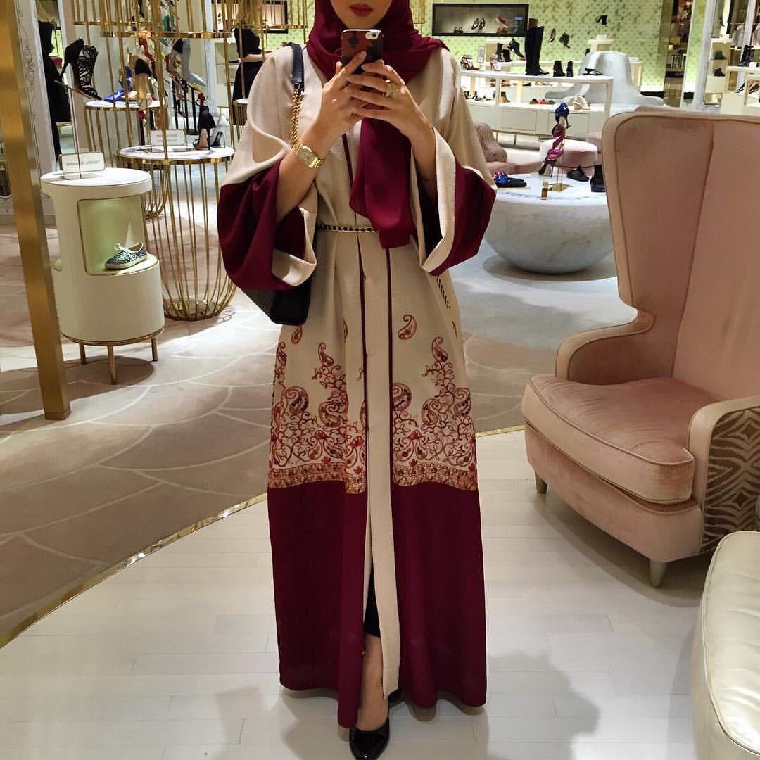shanel new stylish women muslim abaya printing floral coat