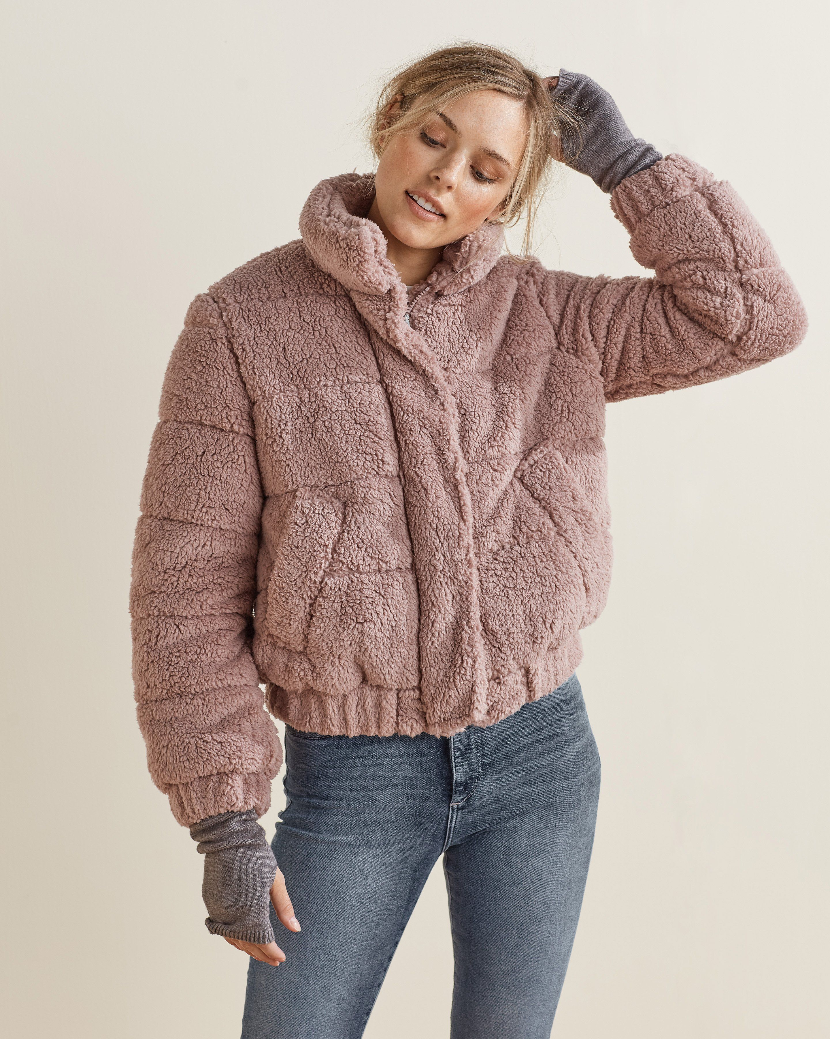 The Sherpa Puffer In 2021 Womens Sherpa Jacket Classic Bomber Jacket Outerwear Women [ 3601 x 2880 Pixel ]
