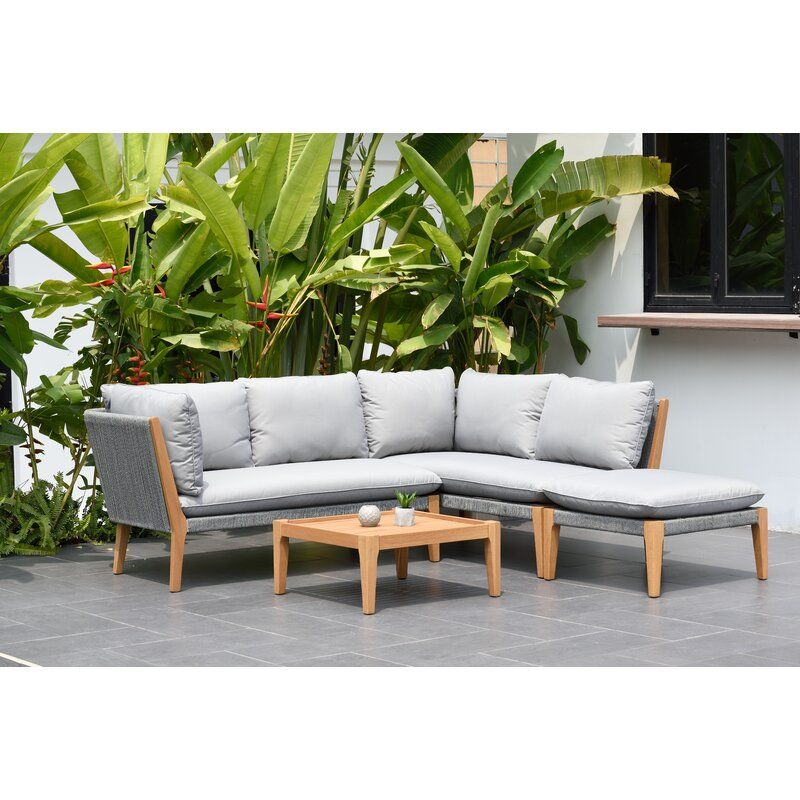 Olinda 4 Piece Teak Sectional Seating Group With Cushions Allmodern Patio Furniture Deals Patio Sectional Teak Patio Furniture
