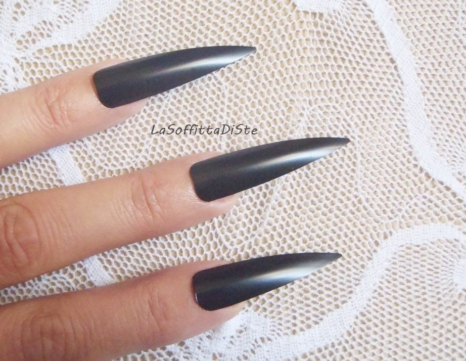 Black stiletto long nails halloween costume vampire wag rock drag ...