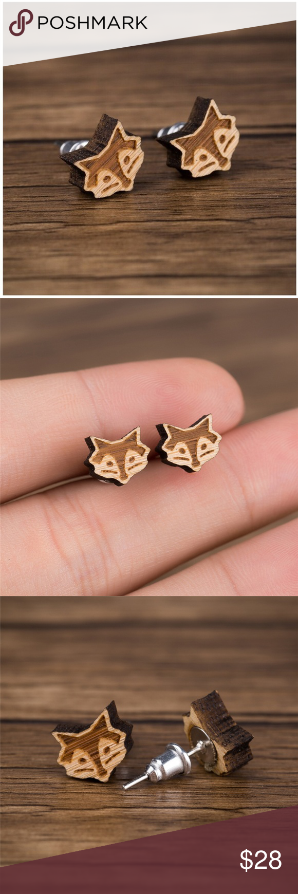 """Urban Outfitters """"What does the fox say?"""" Earrings NEW vintage wood fox earrings ....."""