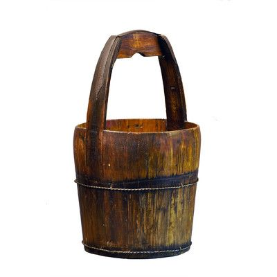 Antique Revival Vintage Water Bucket with Ridged Handle Color: Natural