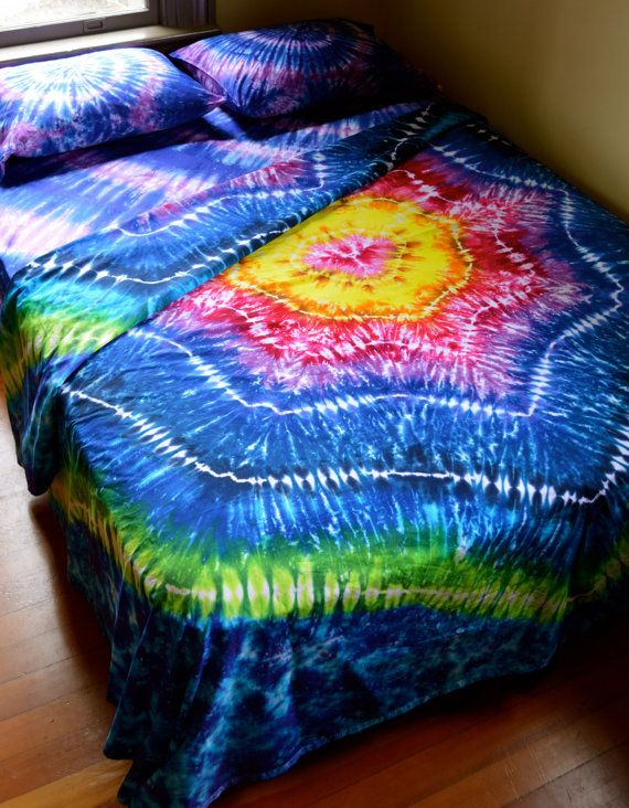 cb3dbc995b28 Hand Dyed Sheet Set Queen Size Tie Dye Bedding by Wildflowerdyes