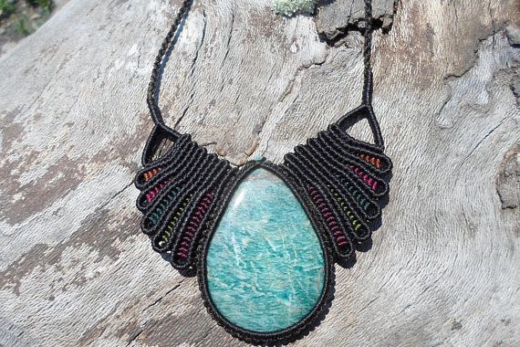 Check out this item in my Etsy shop https://www.etsy.com/listing/539018377/amazonite-macrame-necklacemacrame-stone