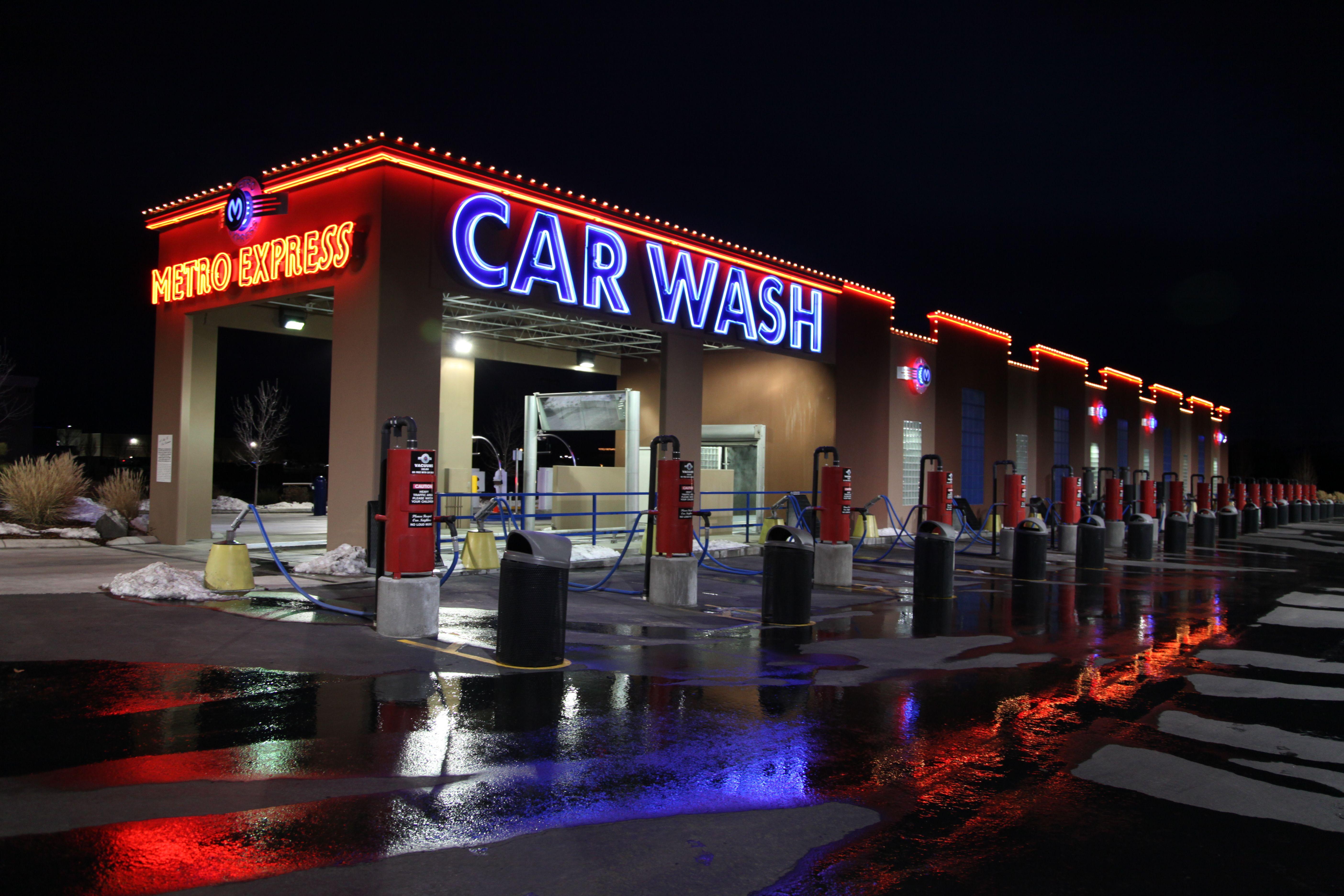 Meridian wash at night Car wash business, Car wash