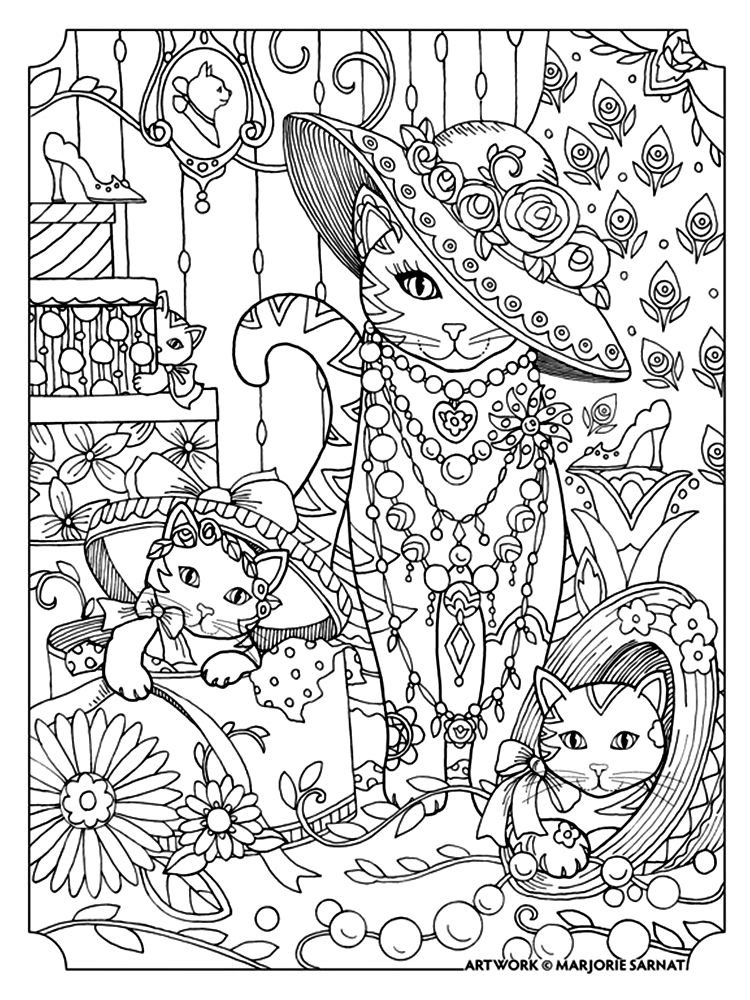 Marjorie Sarnat Pampered Pets Coloring Books Cat Coloring Page Animal Coloring Pages