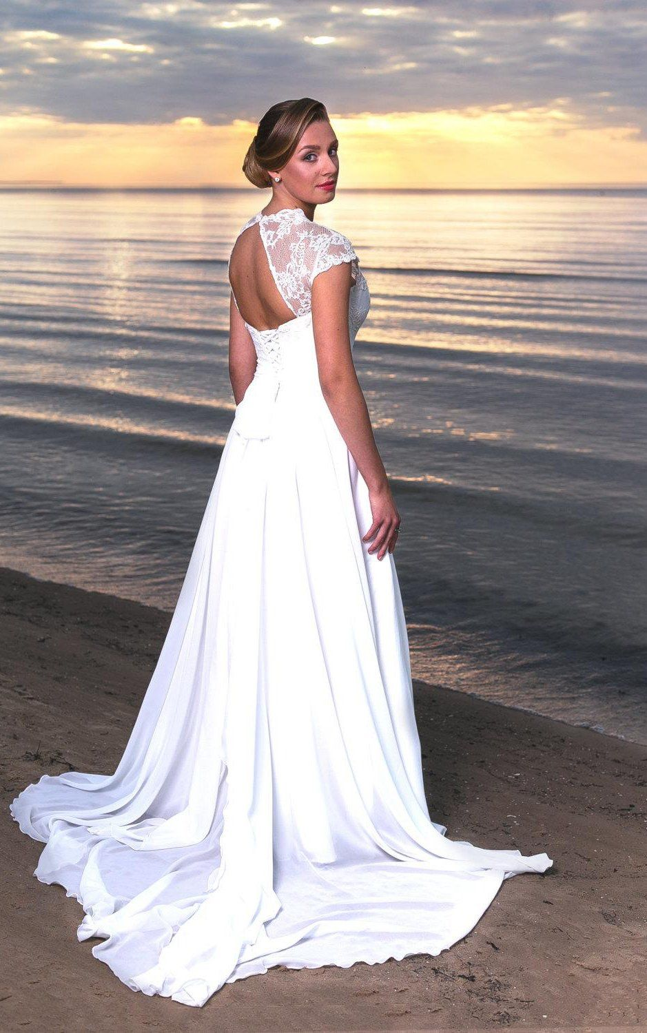 VNeck Long ALine Chiffon and Lace Wedding Dress With Cap