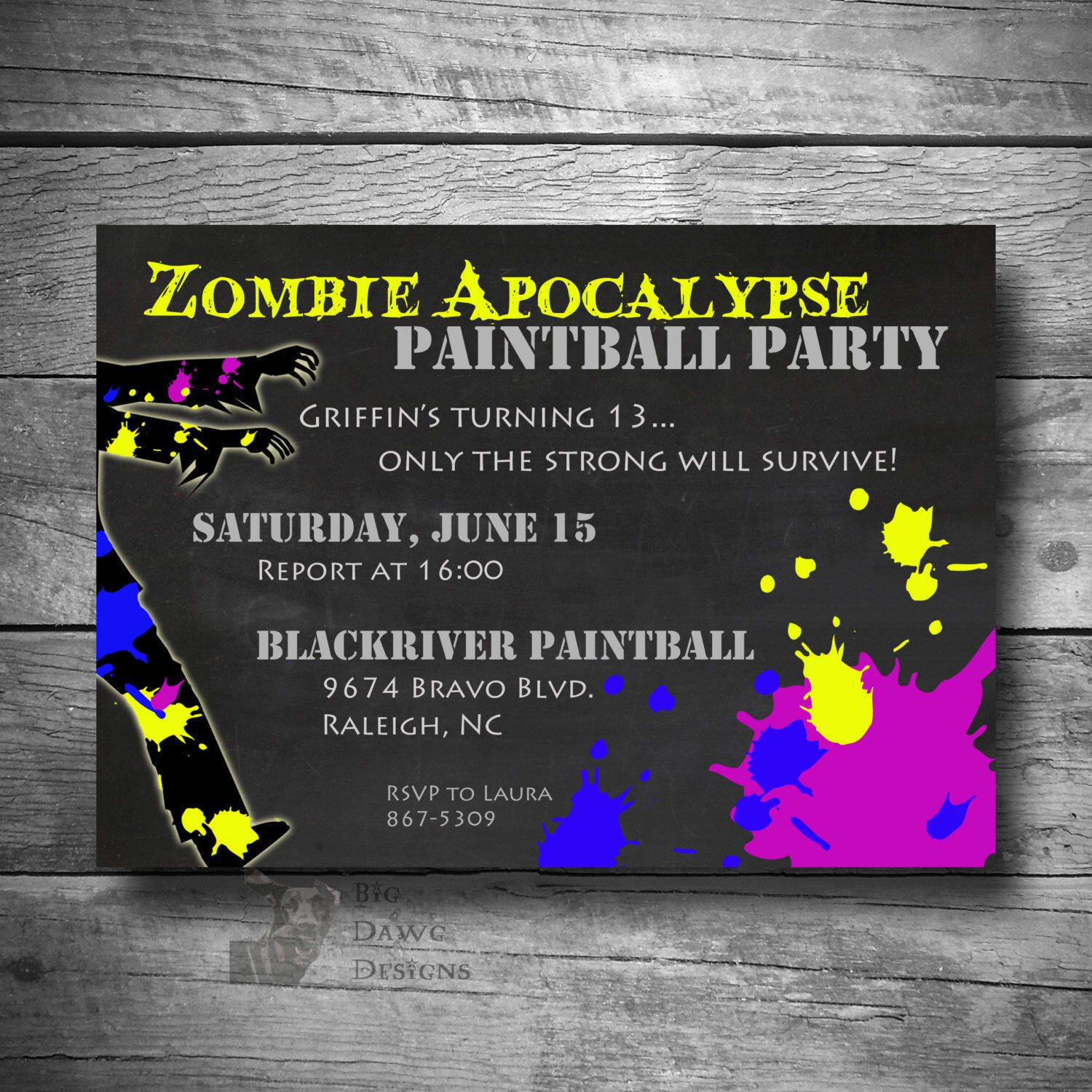 Paintball Party Invitation, Zombie Apocalypse Paintball Party Invite ...