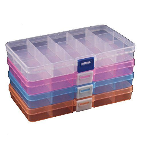 18 grids, Pink-Blue DUOFIRE Plastic Organizer Container Storage Box Adjustable Divider Removable Grid Compartment for Jewelry Beads Earring Tool Fishing Hook Small Accessories