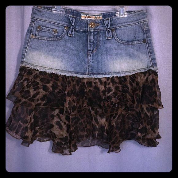 Jean w leopard flare Allen B skirt Jean w leopard flare Allen B skirt Allen B Skirts Mini