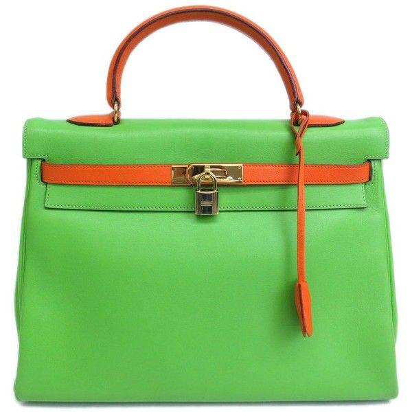 caa97f443f Pre-owned Hermes Kelly 35 Apple Green Veau Gulliver Leather Handbag  ( 9