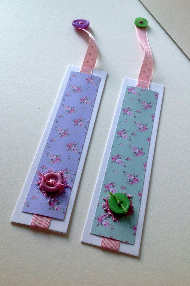 bookmarks set of two shabby chic style handmade bookmarks etiquettes marque pages pinterest. Black Bedroom Furniture Sets. Home Design Ideas