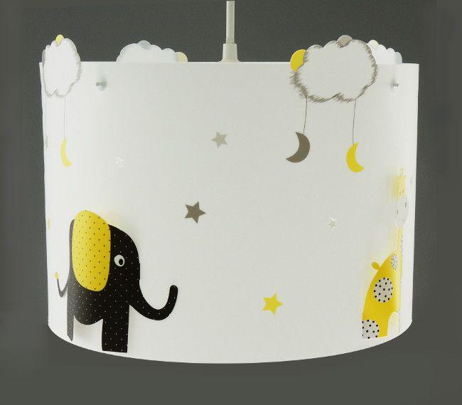 Luminaire suspension éléphant et girafe gris et jaune ...