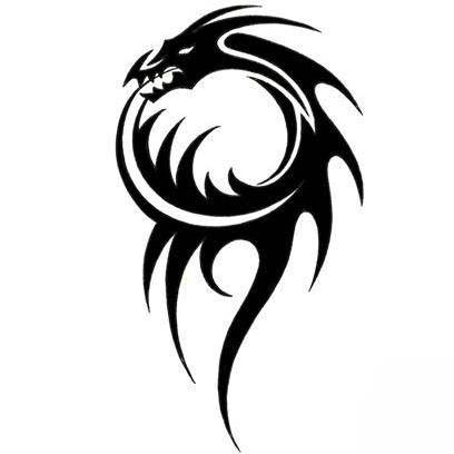 Photo of Black Spiky Tribal Dragon Tattoo Design – TattooWoo.com