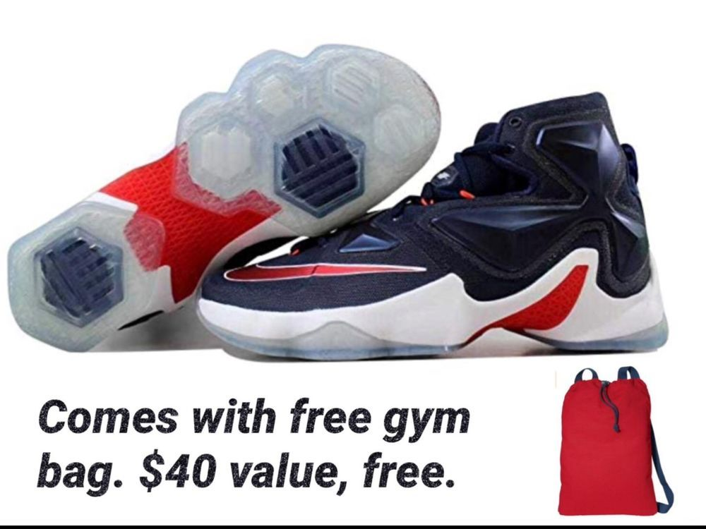Nike Lebron James Xiii 13 Shoe Size 9 Men S Blue And Red With Free Gym Bag Blue Man Athletic Shoes Gym Bag