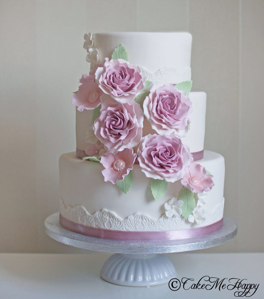 Pink Flowers Wedding Cake By Cake Me Happy Sweden Beautiful Roses