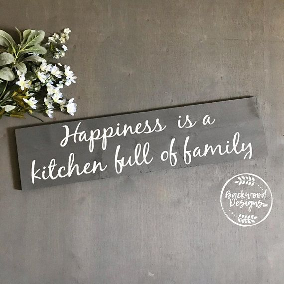 Bon Happiness Is A Full Kitchen | Custom Wood Signs | Personalized Kitchen Signs  | Custom Kitchens