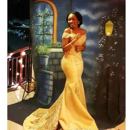 ea972a567 African Black Girls Yellow Mermaid Prom Dress 2018 Lace Applique Off ...