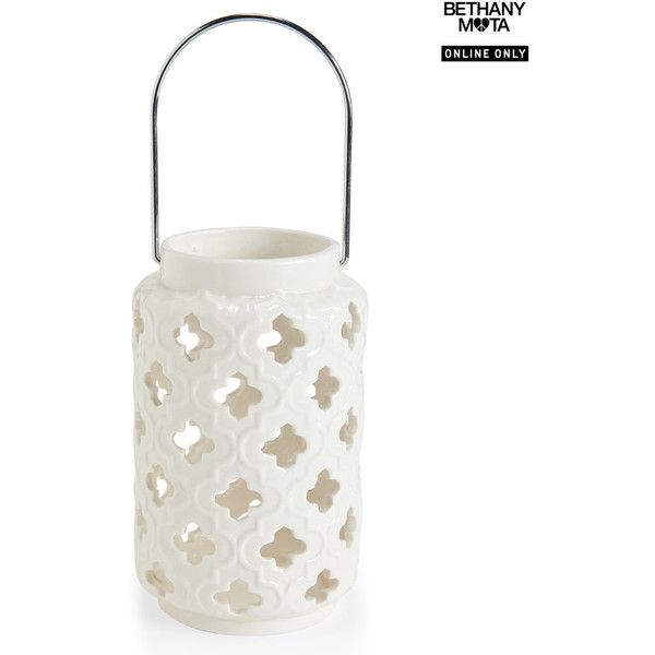 Aeropostale Quatrefoil Ceramic Candle Lantern (£4.80) ❤ Liked On Polyvore  Featuring Home,