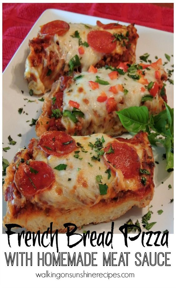 French Bread Pizza with Homemade Meat Sauce from Walking on Sunshine Recipes