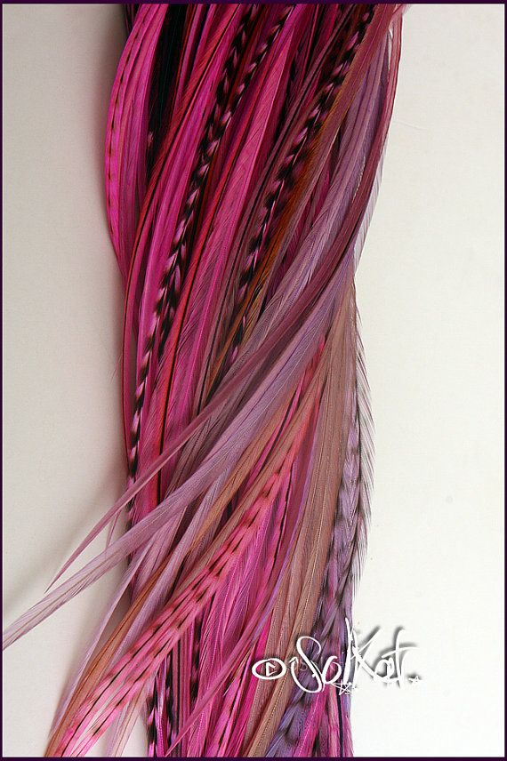 Pink Hair Feather Extensions Mauve Rose Hot Pink Fushcia 10 Rooster