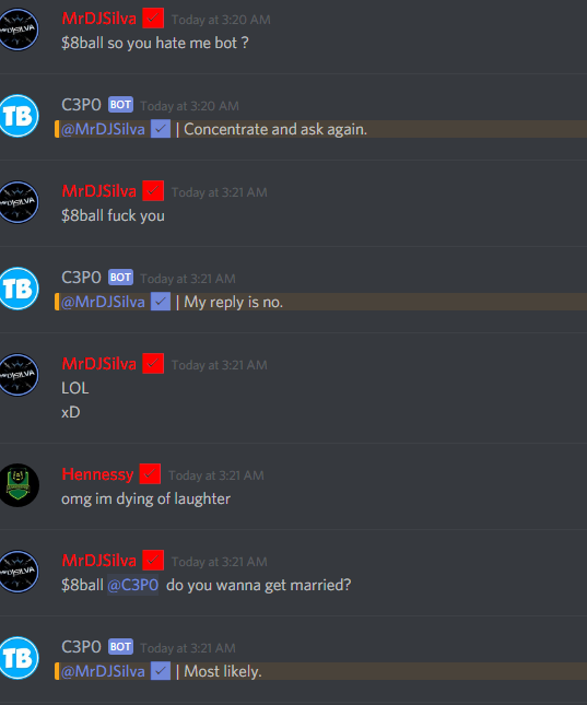 My discord bot roasted me then agreed to marry me! WTF! #lol