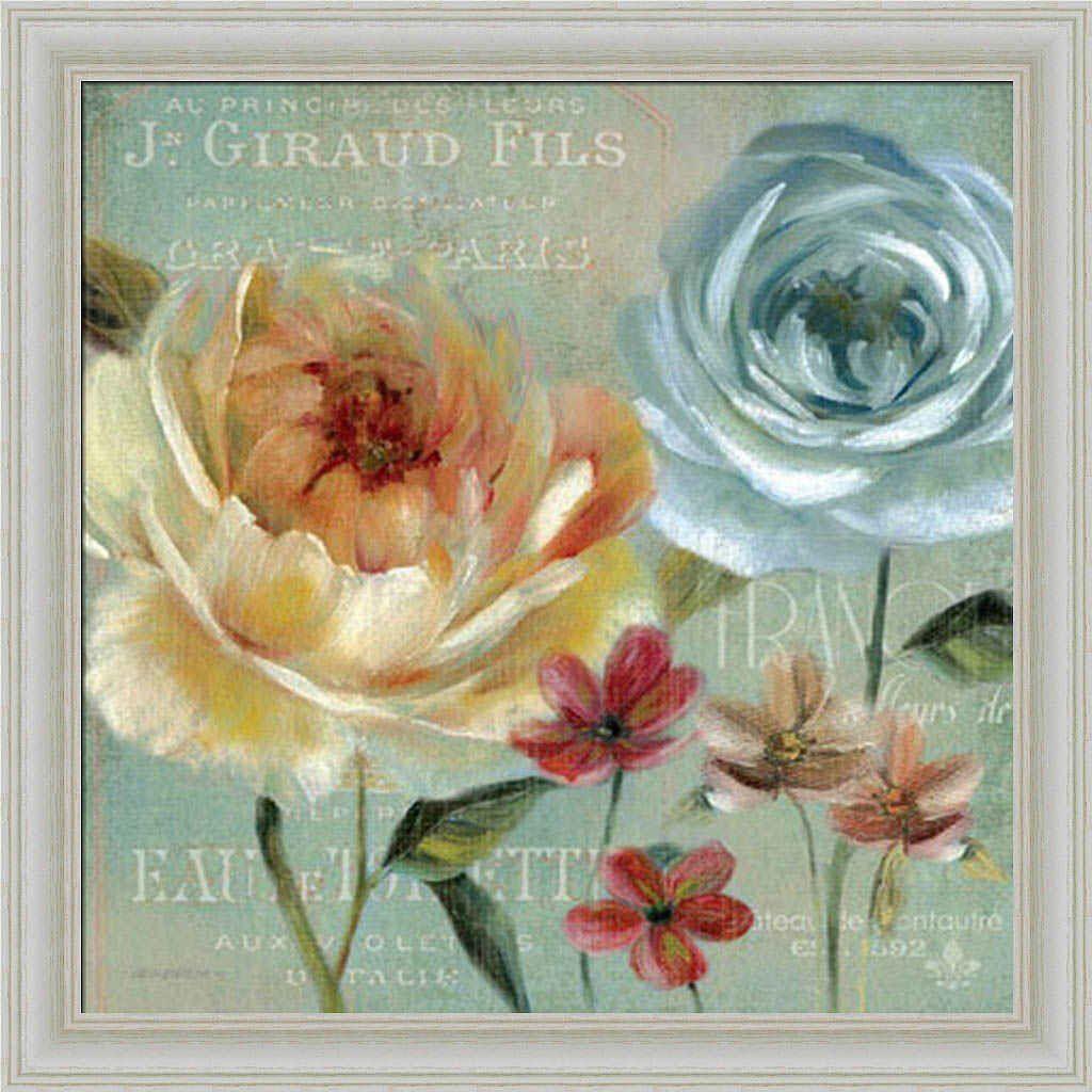 Le jardin de paris i carol robinson french blue floral framed art