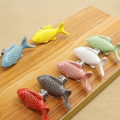 Ceramic Cabinet Knobs Cartoon Fish Door Handles Drawer Pulls ...