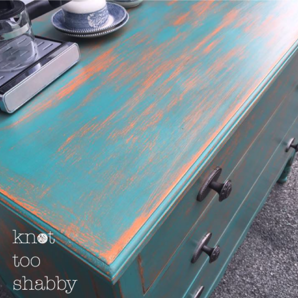 Two Color Distress Using Chalk Paint By Annie Sloan In Barcelona Orange And Florence Orange Painted Furniture Annie Sloan Chalk Paint Colors Orange Furniture