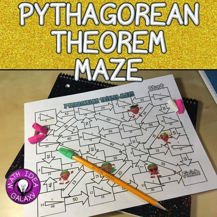 Pythagorean Theorem Activity Maze game, Differentiation and Homework - pythagorean theorem worksheet