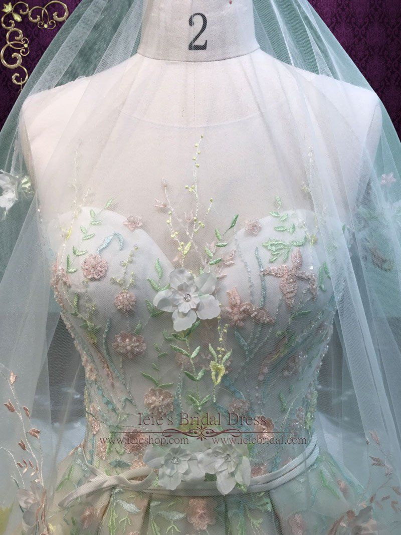Color embroidered wedding dress  Pastel Colored Embroidered Lace Wedding Dress with Royal Train