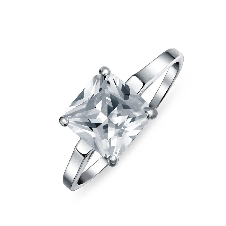 BONLAVIE 925 Sterling Silver 1.75ct Princess CZ Cubic Zirconia Halo Promise Engagement Wedding Anniversary Ring
