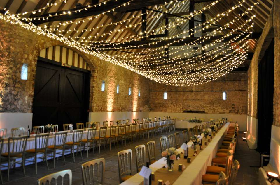 Fairy light ceiling for a rustic barn #wedding Lights:Oakwood Events, Venue: