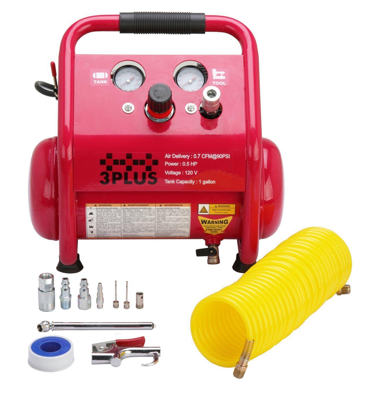 3PLUS HCB0504M02 1 Gallon Quiet Air Compressor, Portable