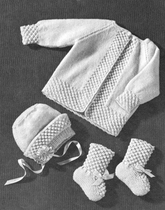 13f97bcd2 vintage knitting pattern baby sweater jacket bonnet hat shoes ...