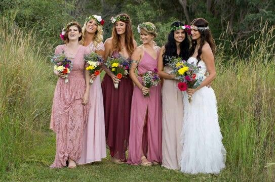 My beautiful boho bridesmaids wearing dresses from Free People, Wish & Review. My headpiece from Komorebi! Www.komorebibride.com