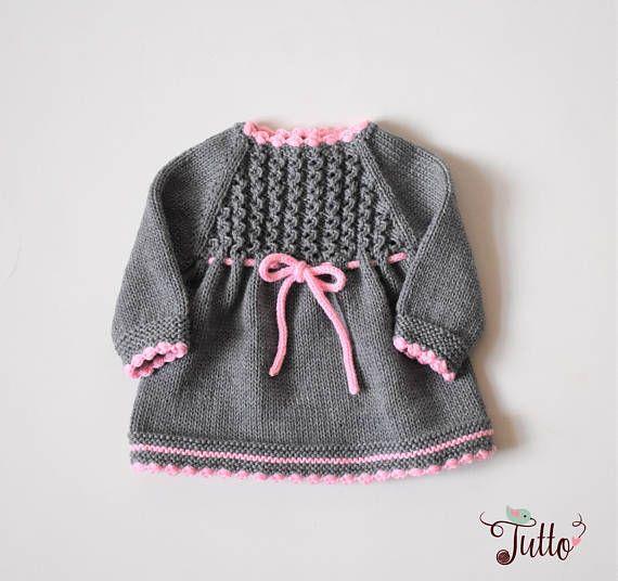 baby girl dress winter dress merino dress knit baby dress grey and pink dress baby shower gift. Black Bedroom Furniture Sets. Home Design Ideas